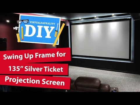 """Building a flip up 135"""" projection screen - Silver Ticket Acoustically Transparent Klipsch Speakers"""