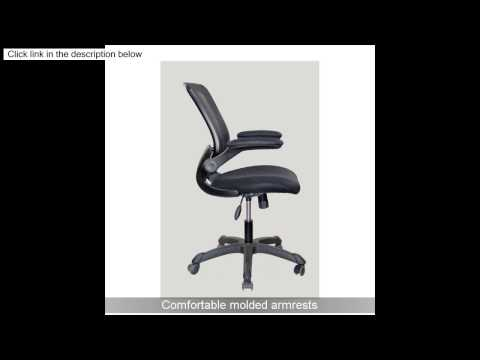 Techni Mobili Mesh Task Chair with Flip-Up Arms, Black