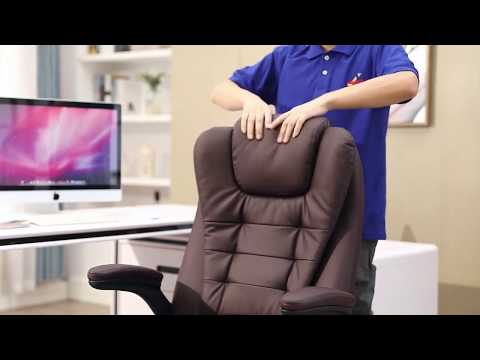HOMCOM PU Leather Office Chair With Massage Function, High Back-Brown