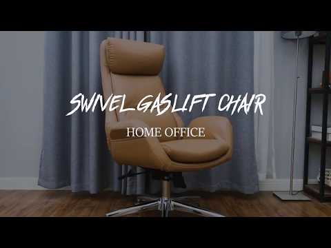 Glitzhome Adjustable Office Chair High-Back Executive Swivel Chair with PU Leather