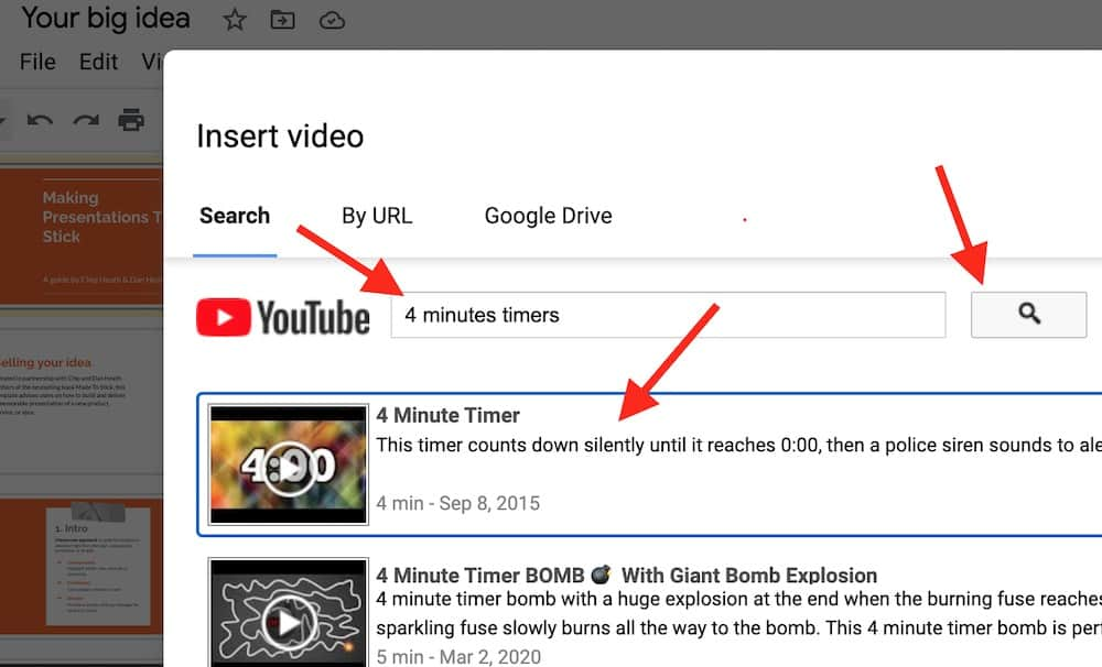 Choose a timer video in Youtube