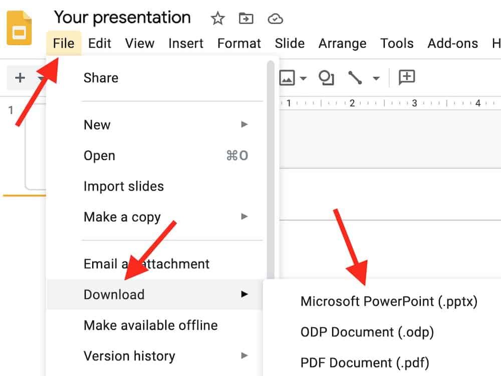 download a google slide to your computer