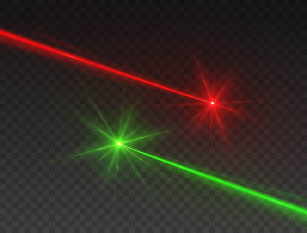 red green laser beams