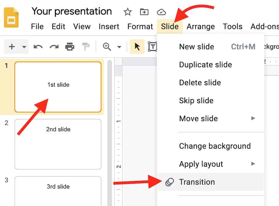 select transition in google slides