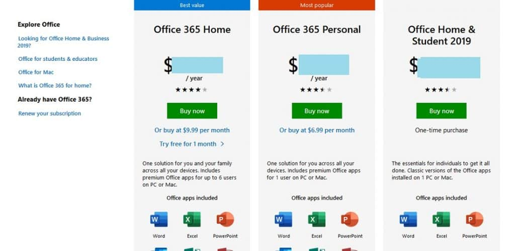 a range of Microsoft Office packages