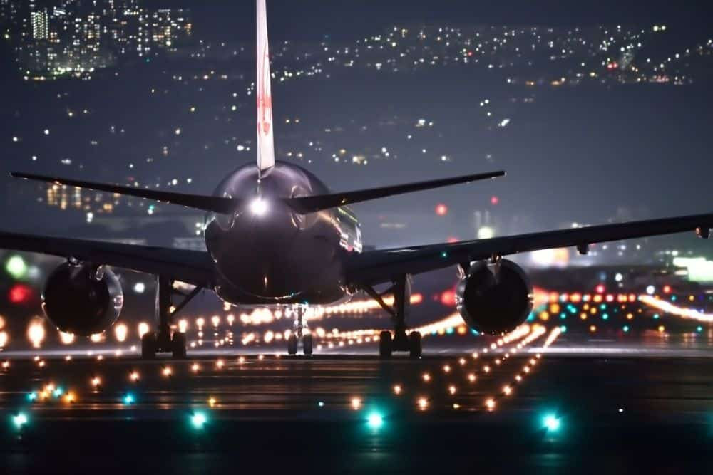 an airplane in the night