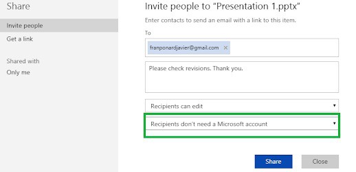 How to share using PowerPoint Online