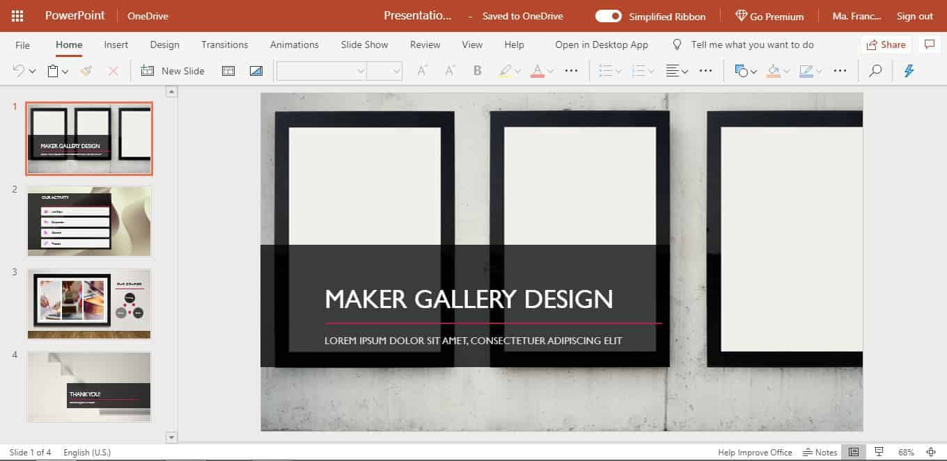 Maker Gallery Design PowerPoint Online