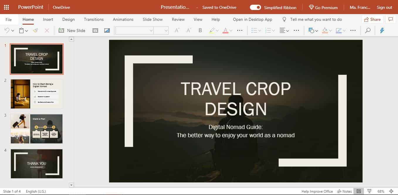 Travel Crop design PowerPoint Online