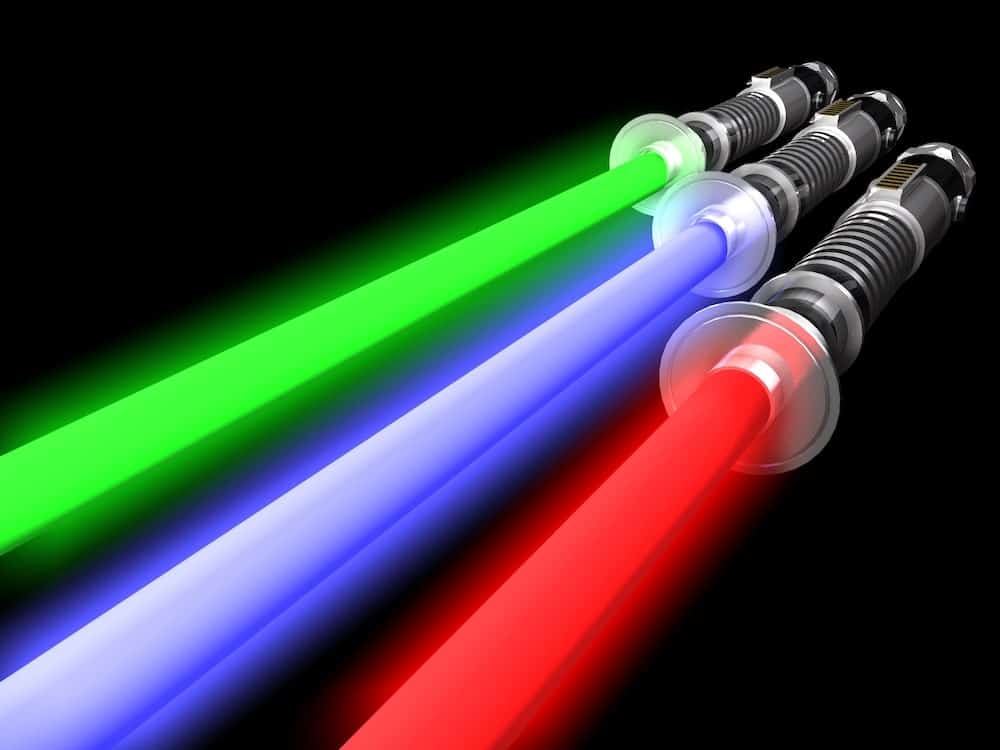 3 lightsabers with sound effects