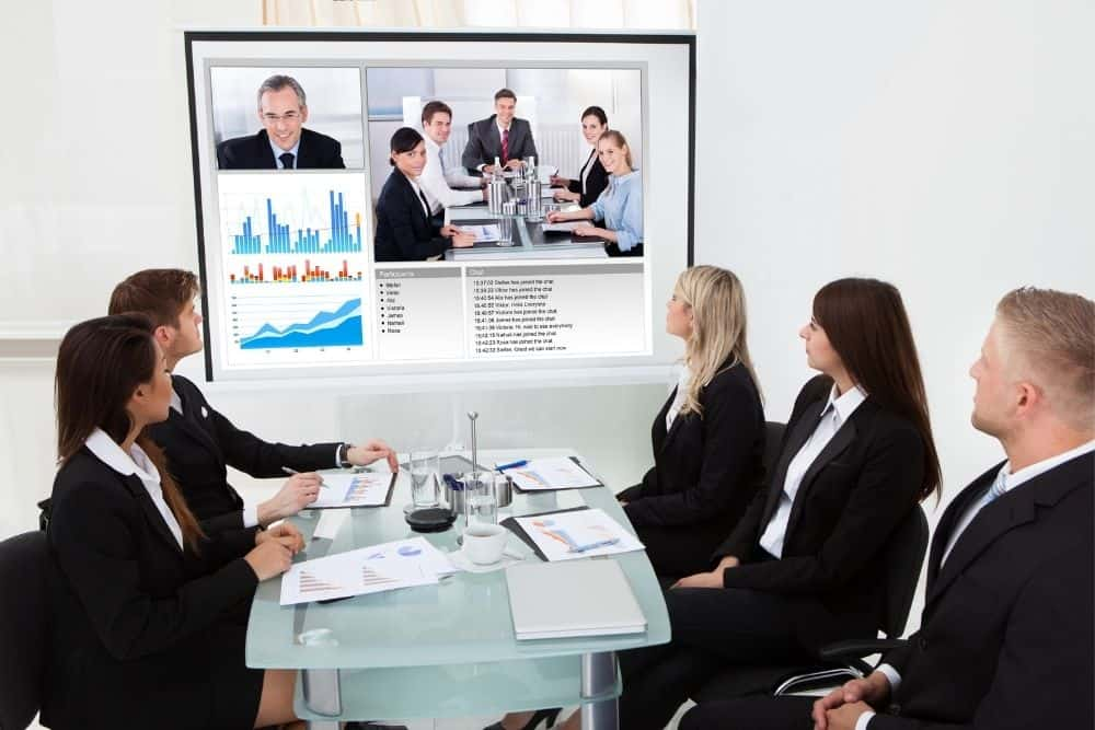 present on a white projector screen