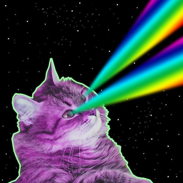 a cat with green lasers in the outer space