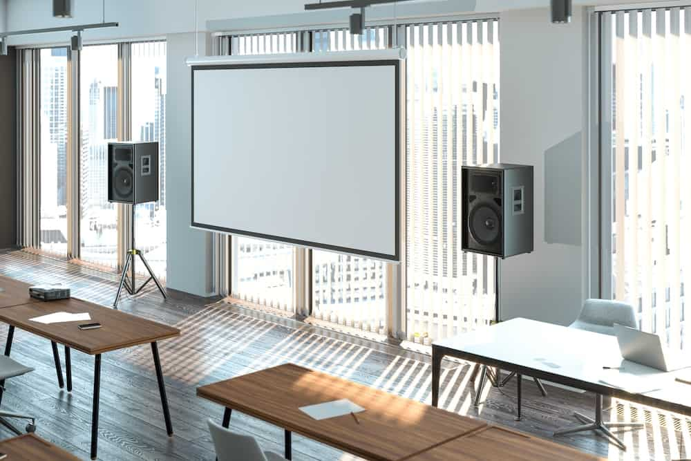 hang a projector screen from a ceiling