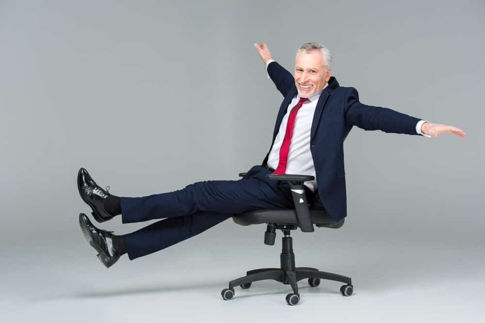a businessman in office chair