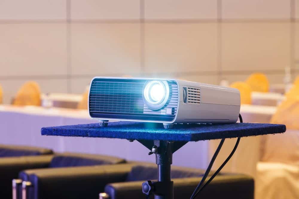 a projector on its stand