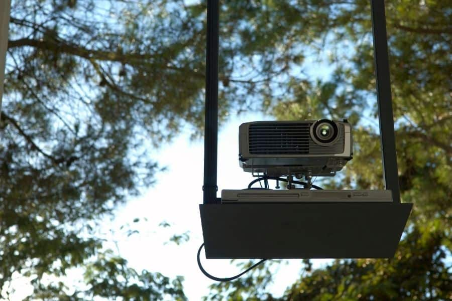 a projector outside during the day light