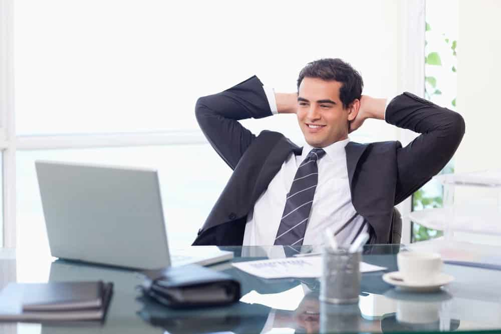 Relaxed businessman in Serta office chair