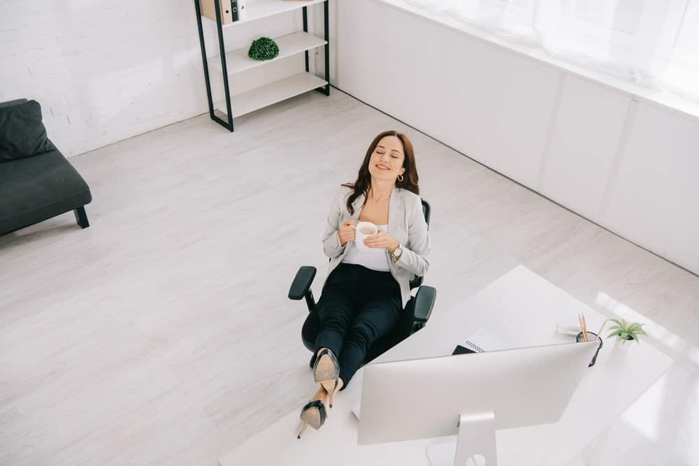 businesswoman is comfortable with her office chair