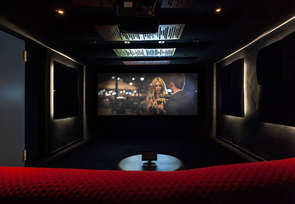 high gain projector screen at a home theater