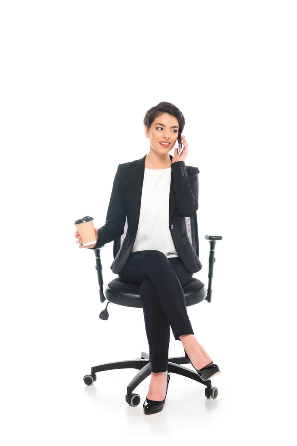 woman sitting on an office chair for short and petite people