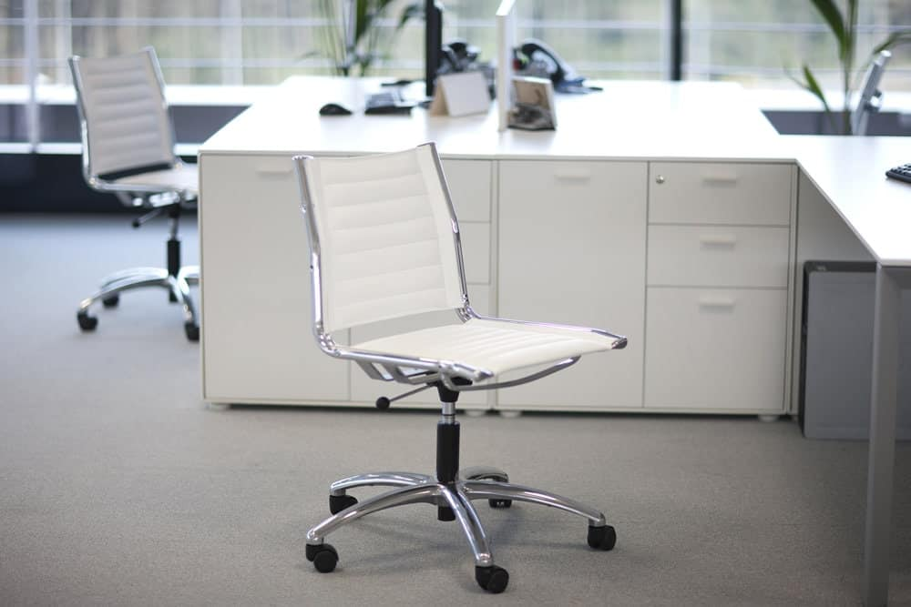 an office chair without armrests