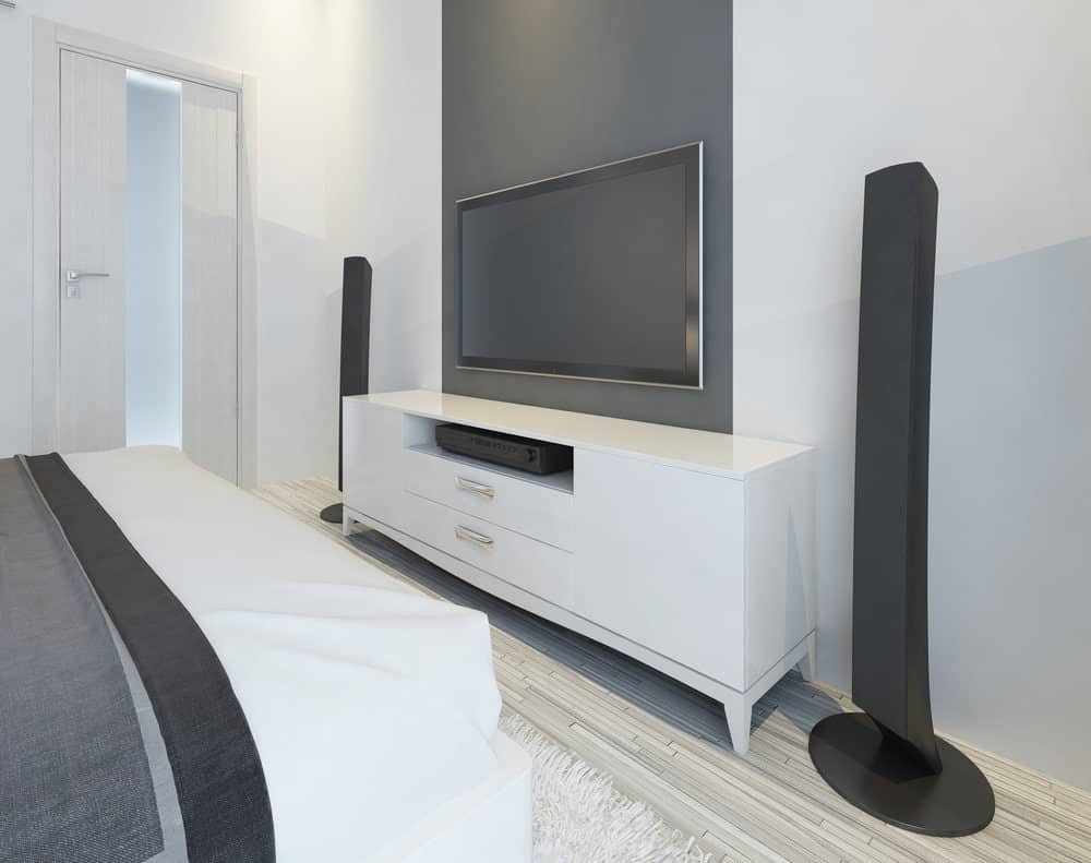 bedroom theater with modern TV and music speaker