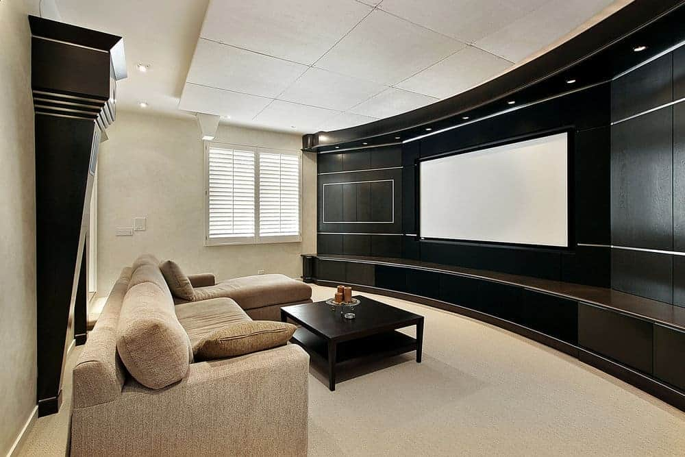 living room theater with wide screen