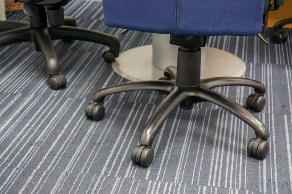 office chair caster wheels on the carpet