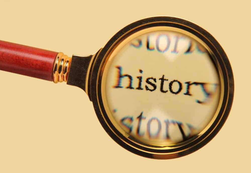 Old magnifying glass on word history