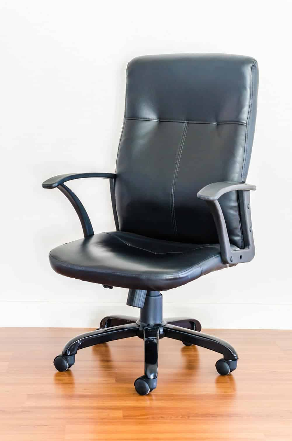 black leather non pneumatic office chair