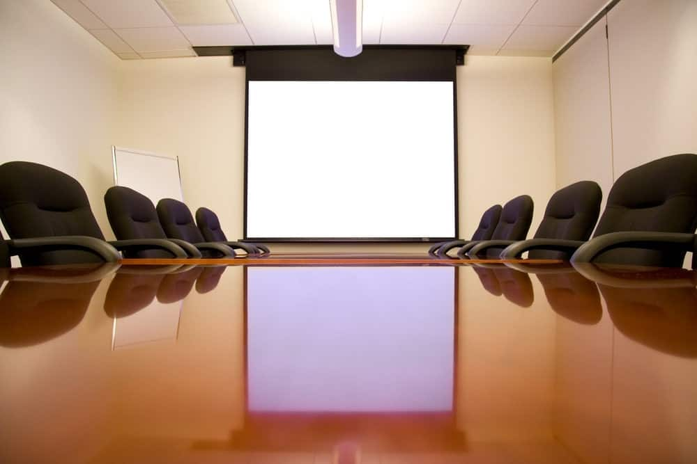 meeting room with dragonfly projector screen