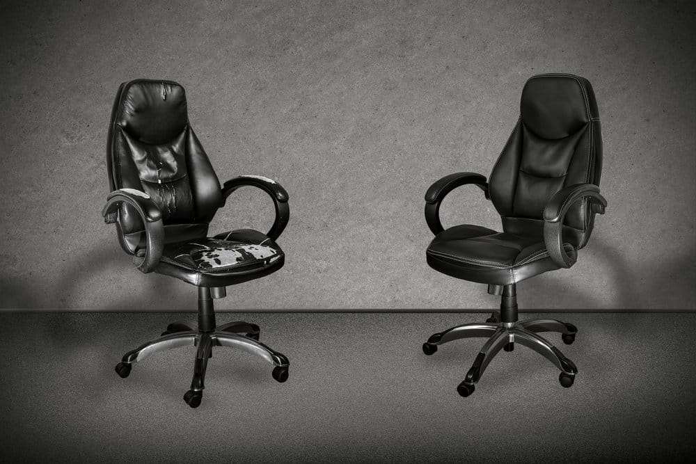 old and new office chairs