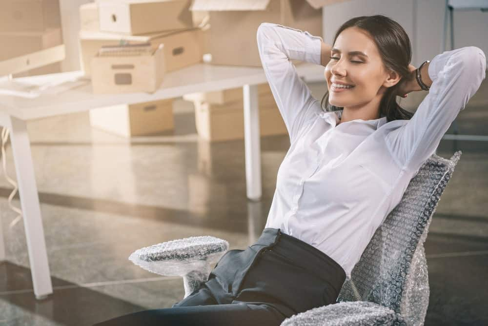 woman relax on a new office chair