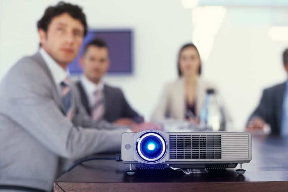 A Projector Used For Bright Conference Room
