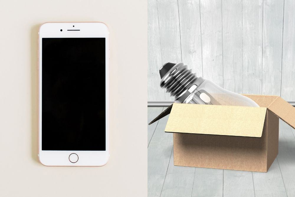 smartphone and light bulb in a box