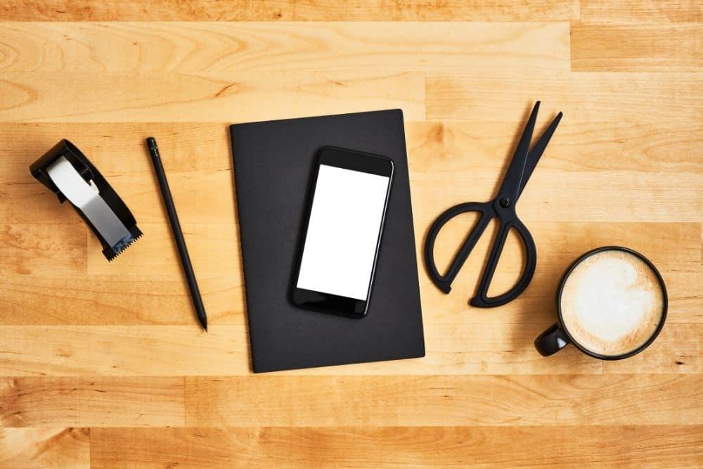 tape, smartphone, pencil, scissor