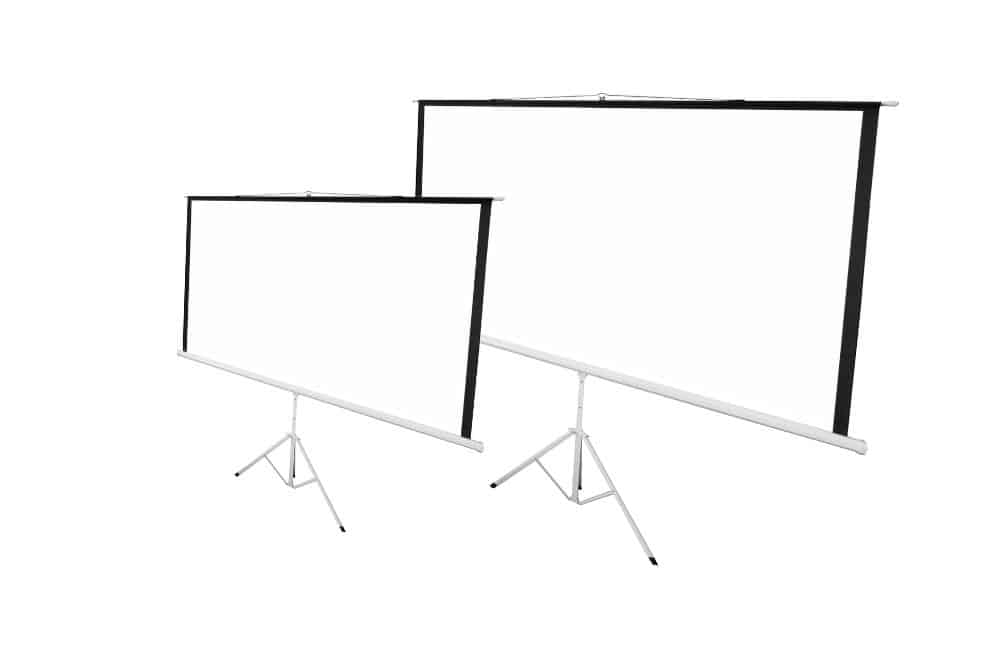 two projector screens with different sizes
