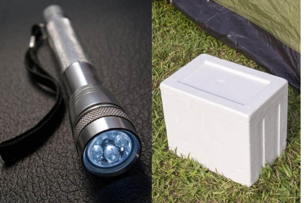 a flashlight and styrofoam box