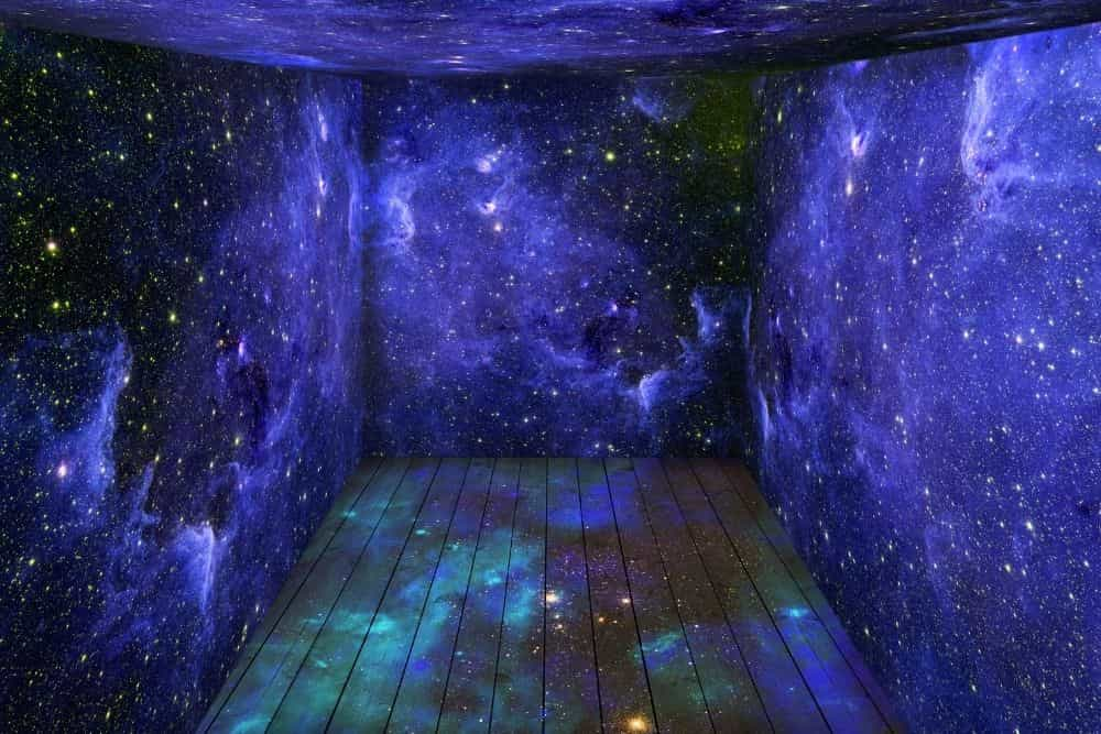 galaxy projection mapping in a room