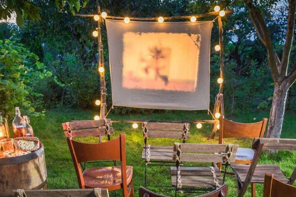 white sheet as a projector screen