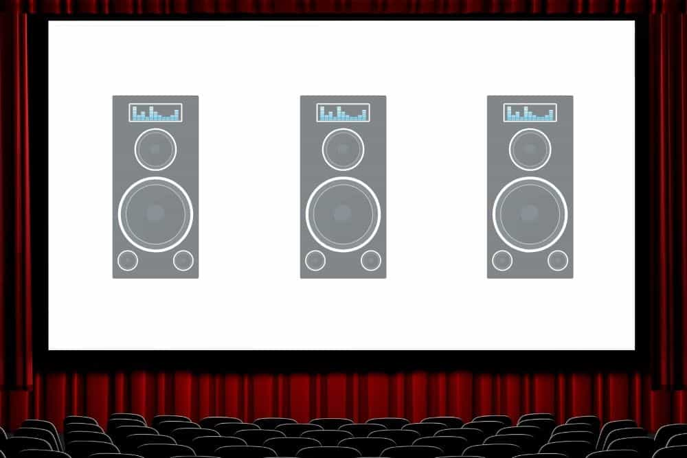 a theatre with speakers behind projector screen