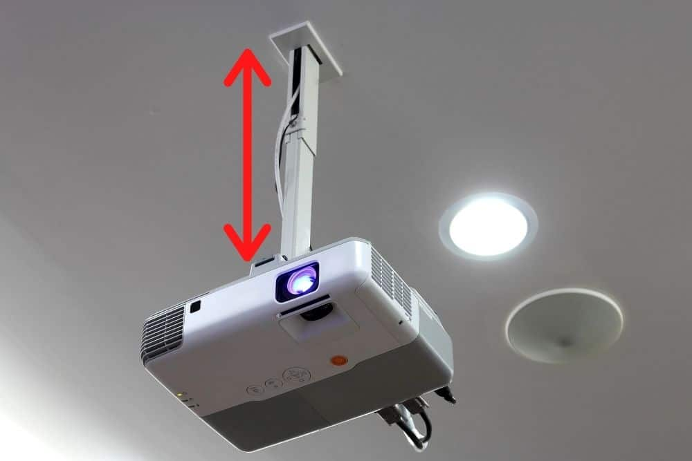 determine the distance of projector to the ceiling