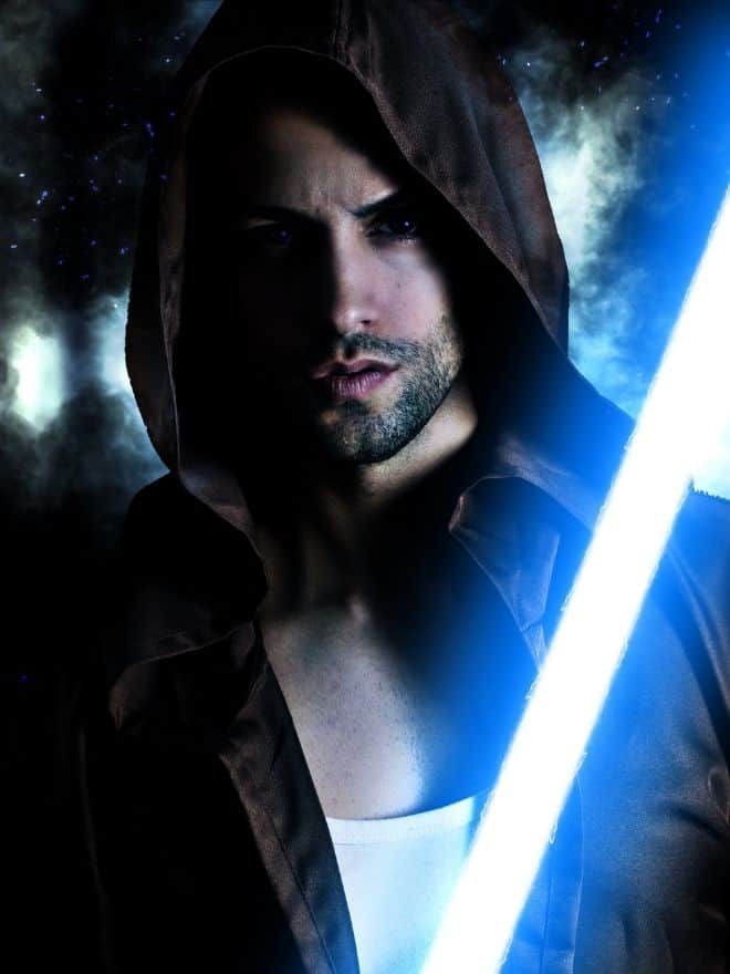 man with a white lightsaber