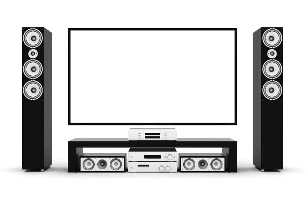 modern home theatre with sound system