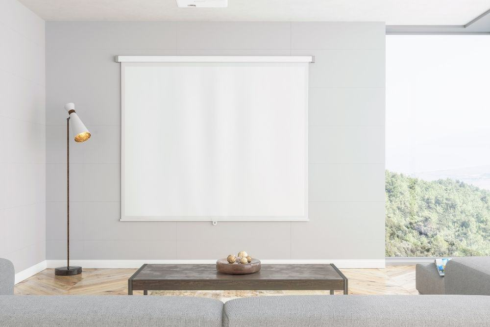 projector screen in the living room