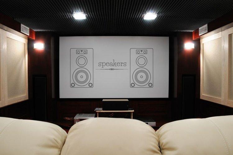 speakers behind projector screen