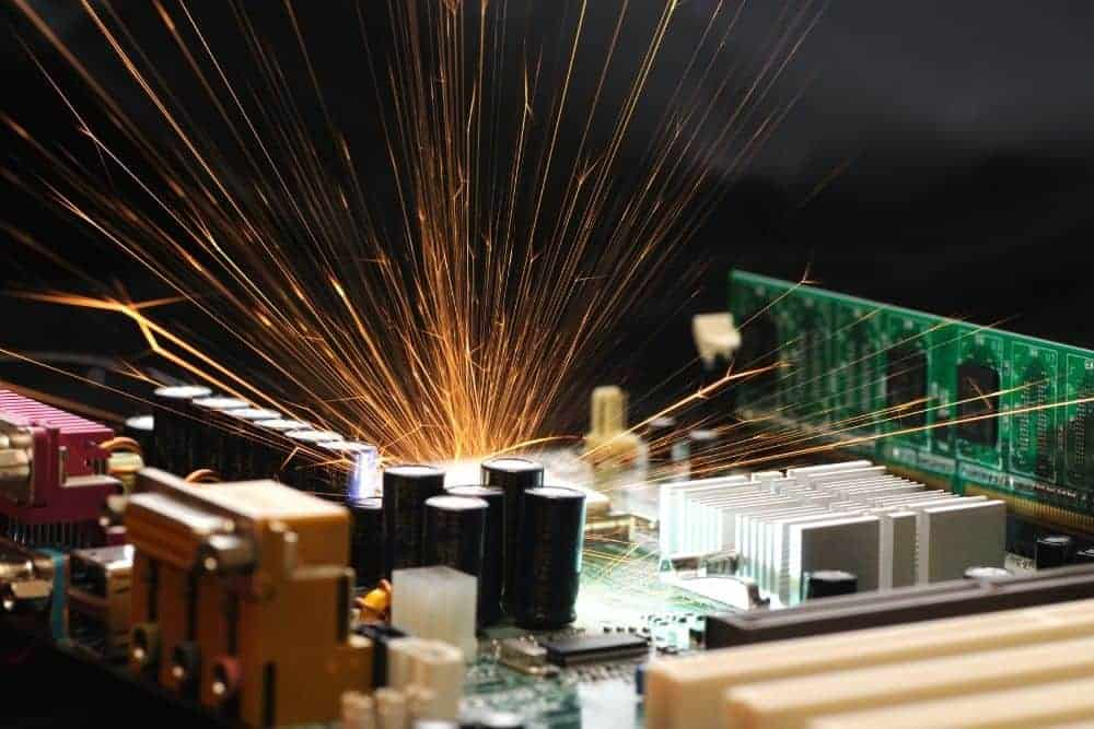 Burning Sparks Light From Projector Ballast Failures