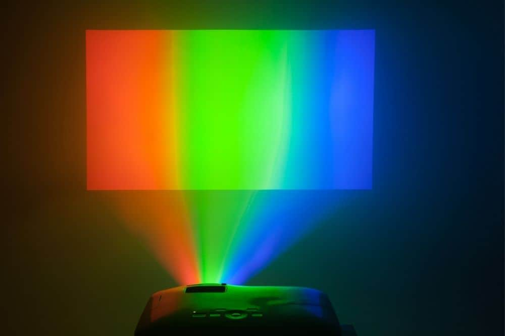 a DLP projector using separate chips generate colors red, green, blue