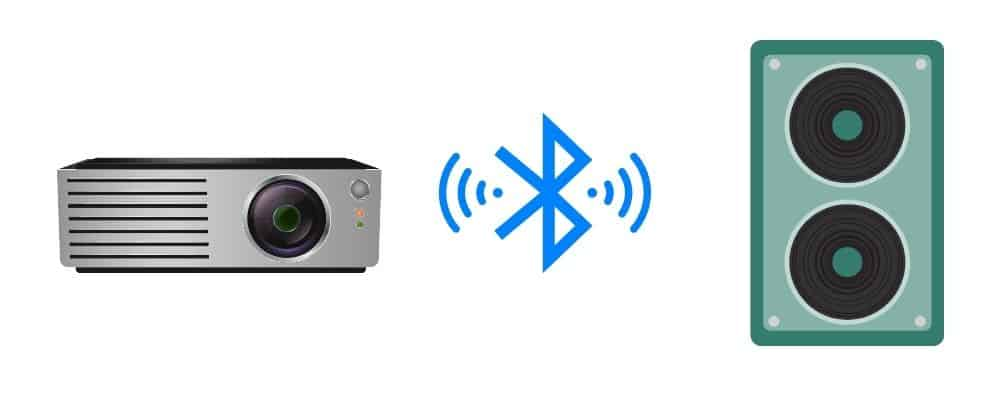a projector connects to an external speaker via Bluetooth