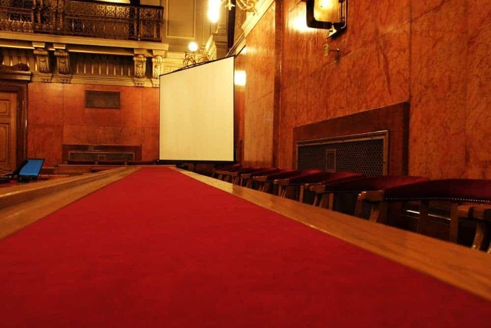 church hall with a projector screen